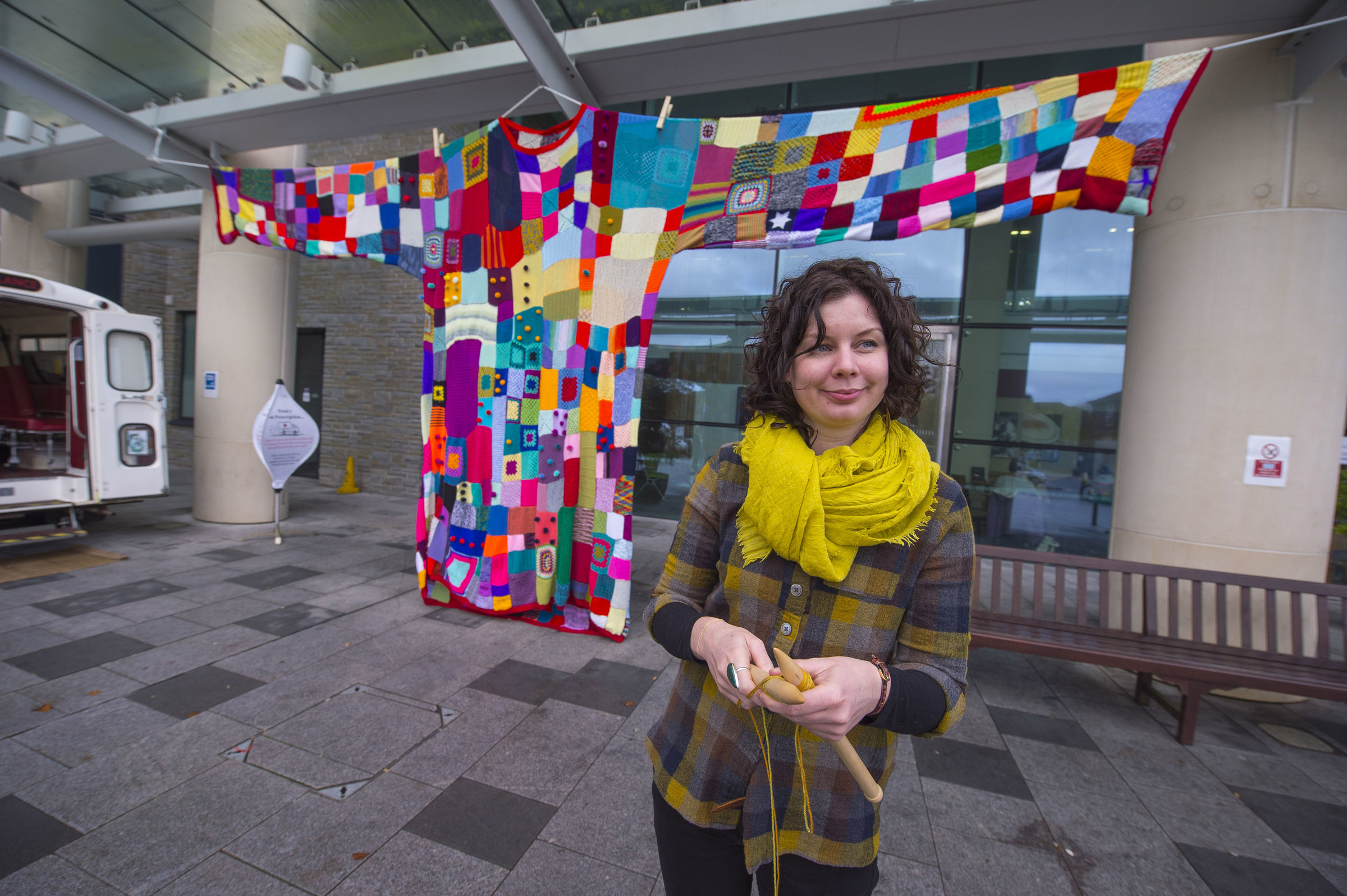 Ali Brown worked with community groups, staff and patients to create a giant jumper installation. Photo Jim Wileman