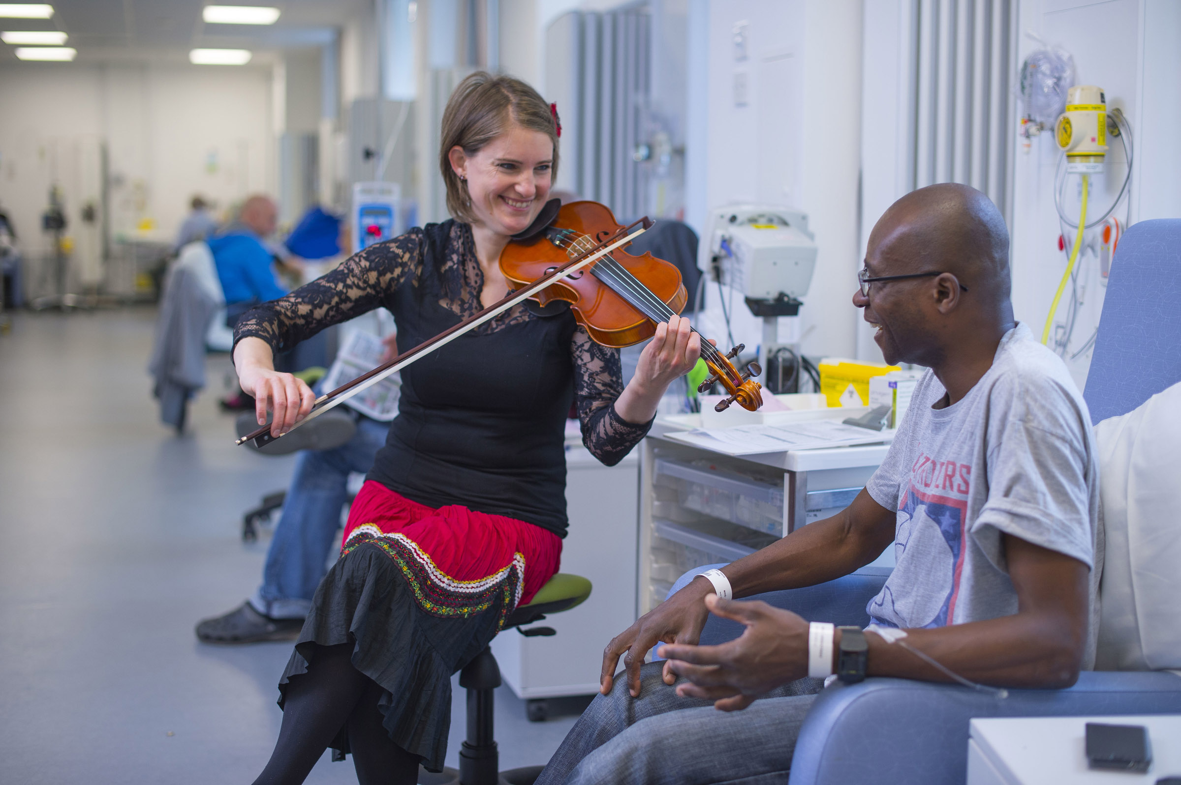 musicians from superact performed in waiting areas and on wards during the fresh arts festival curated by willis newson