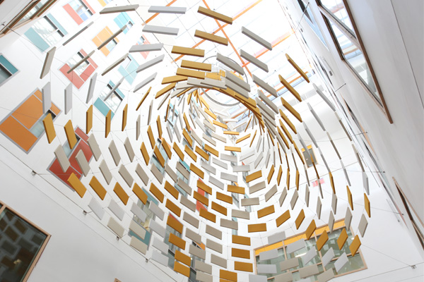 Acoustic baffling sculpture by Studio Weave for Bristol Royal Infirmary. Photo by Studio Weave