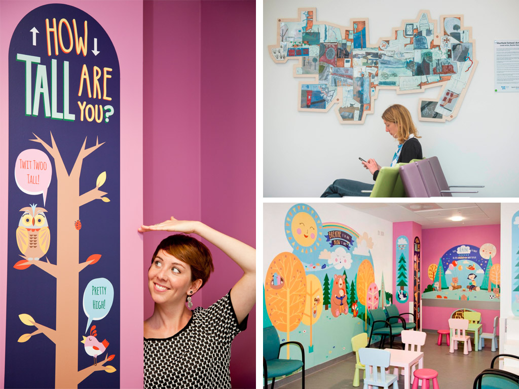 Art in hospitals Left and Bottom Right: Emily Golden Artwork for the Children's Minor Injuries Unit. Top Right: Specially created gallery spaces